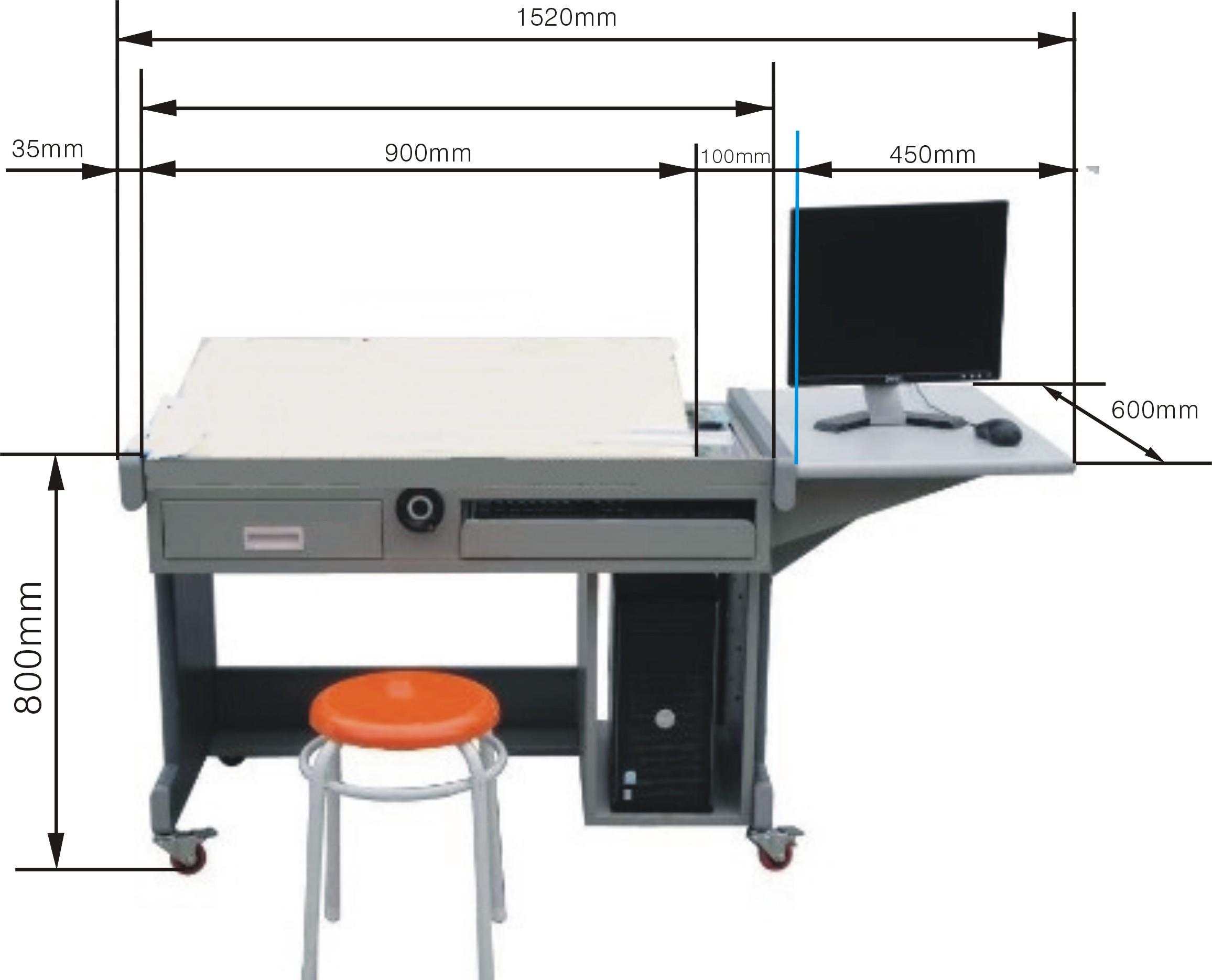 三、工程制图实验室设备可选配配置 (一)**桌配置: (1)90cm丁字尺 (8)多功能模板 (2)90*60cm一号绘图板 (9)大圆弧模板 (3)精密绘图仪器(5件一套) (10)不锈钢多用擦图片 (4)25cm曲线板 (11)画圆模板 (5)30cm多用斜角三角板 (12)绘图铅笔(5支一套) (6)美工刀 (13)81a绘图笔 (7)三棱比例尺 (15)**凳(PVC凳面,钢管身,可升降) (二)老师桌配置: (1)120cm丁字尺 (11)美工刀 (2)12090cm零号图板 (12)三棱比例尺