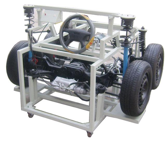 一、产品简介 实训台采用马自达929真实的汽车四轮转向系统为基础,全面展示汽车四轮转向系统的组成结构和工作过程。满足汽车四轮转向系统理论与维修实训教学需要,完全满足对汽车四轮转向系统结构展示、工作模拟、拆装实训等教学功能。 二、产品配置 采用电控前转向系统和后随动转向系统总成;配备前后桥、悬架、上下托架和转向节、轮毂、轮胎;转向系统的方向盘、转向助力泵、助力泵驱动电机、转向刻度盘;原车原装的四轮转向控制电脑ECU、点火开关、车速表、车速信号调整装置、各种相关的传感器;直流12V电源、漏电保护开关、移动台