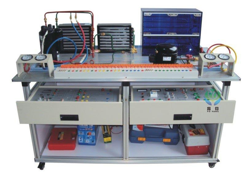 装置,电气控制采用挂箱式,能进行制冷系统的组装、调试、运行,真实呈现制冷装置的工作过程,通过对制冷系统的安装、保压、检漏、抽真空、电气连线、加氟、系统调试及工况调整等,完成对**的现代制冷与空调系统设备安装、调试和维修技能训练。 根据项目教学,可完成以下典型工作任务: 任务一:热泵型家用空调系统 包含:热泵型家用空调系统的定位安装、保压、检漏、抽真空、电气连线、加氟、系统调试及工况调整等。 任务二:空气源热泵系统 包含:空气源热泵系统的定位安装、保压、检漏、抽真空、电气连线、加氟、系统调试及工况调整等。