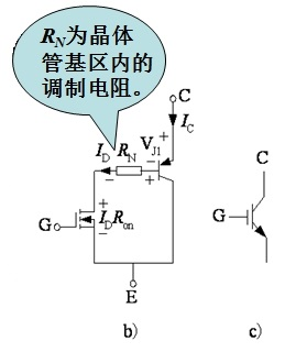 简化等效电路和电气图形符号a) 内部结构断面示意图  b) 简化等效电路