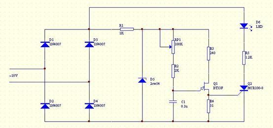 台灯调光电路--模拟电路及晶闸管应用图片