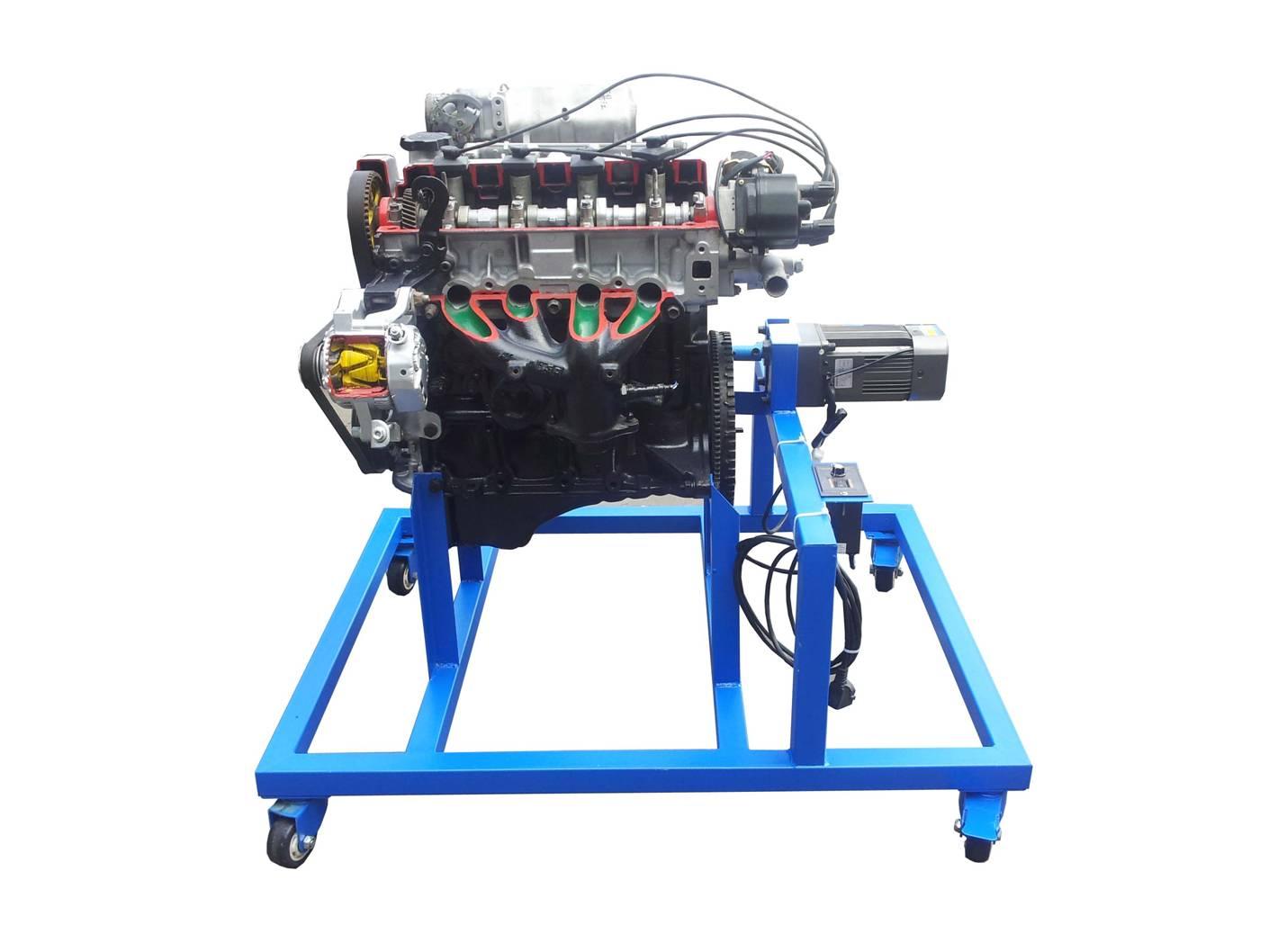 一、产品简介 该设备采用电控汽油发动机总成进行剖面处理,各部件齐全,剖面位置合理,能全面展示汽油发动机内外部结构和部件的运动情况,适用于汽油发动机原理和机械机构的教学。 二、功能特点 1.采用原厂汽油发动机实物总成进行机构切剖,充分展示汽油发动机机构部分的内外结构。 2.