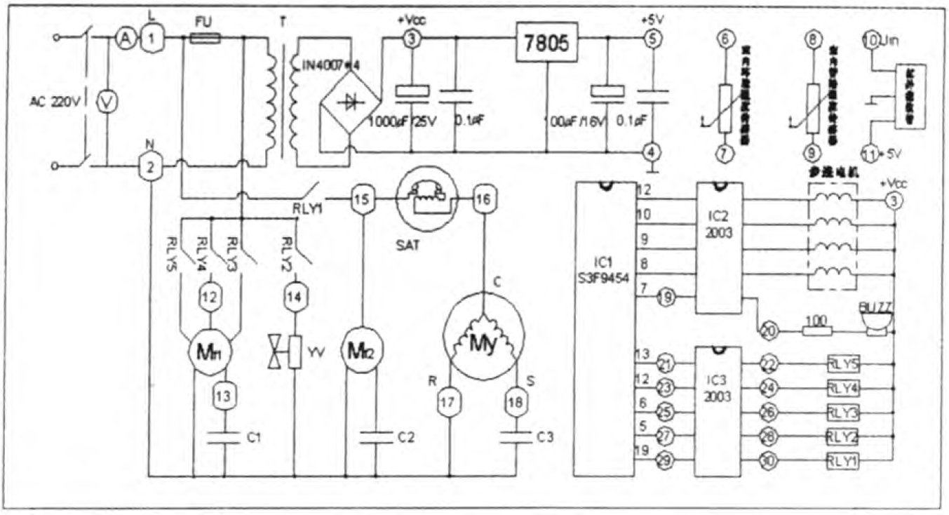红外线接收管,继电器,风机,压缩机,过载保护器,电磁四通阀,cpu,反响