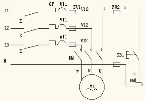 图1 三相异步电动机电动控制电路图 知识难点突破了,教师总结后面